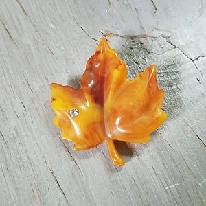 Maple leaf brooch with rhinestone
